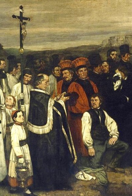 """Detail of Courbet's painting of his granduncle's funeral, """"Burial at Ornans."""""""