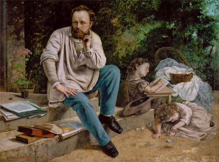 """""""Proudhon and his children."""" Painting by Gustave Courbet."""