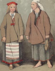 """A peasant woman and girl from Ruokolahti,"" 1882, by Sverin Falkman."