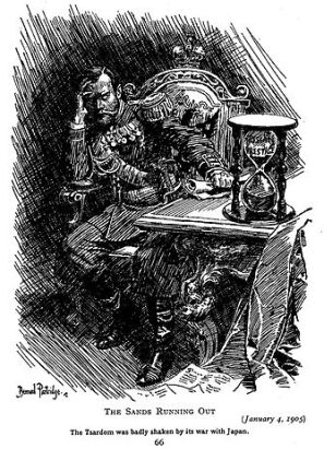 Cartoon in Punch magazine of Tsar Nikolas after the Russo-Japanese War.