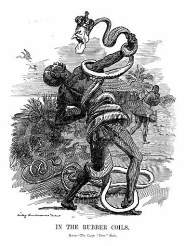 The rubber exploitation would develop in the 1890s. Here a rubber worker is coiled up in a snake with the head of Leopold.