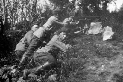 White Guards with machine gun.