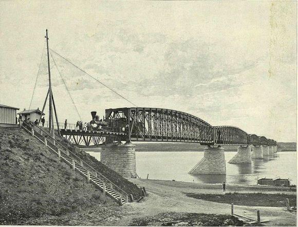 Bridge over the Ob River, 1899.