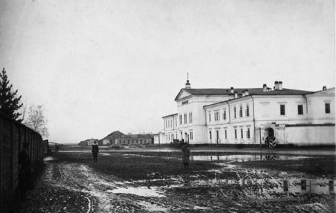 The Irkutsk prison, surrounded by mud.