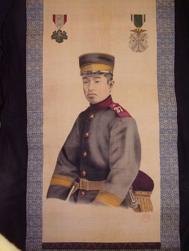 Scroll depicting Japanese soldier. Probably a memorial scroll.