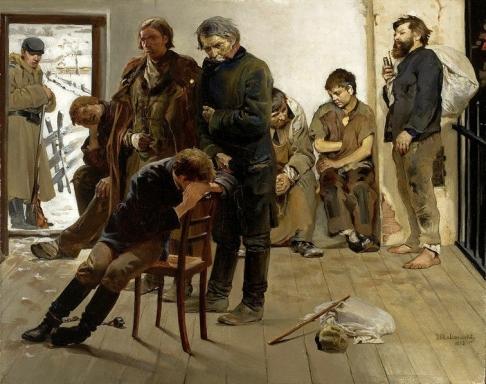 """Siberian Prisoners."" Painting by Jacek Malczewski, 1883."