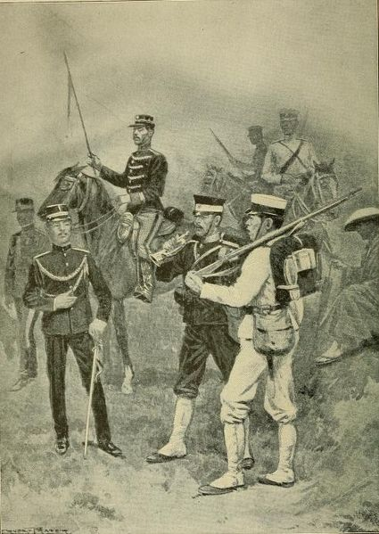 Soldiers of the Japanese army. Illustration by Ernest Prater.