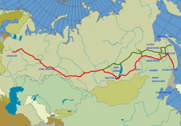 Click for zoom. The green line is the Baikal-Amur Mainline, a modern addition.