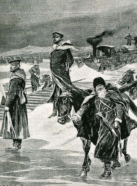 Transport of Russian soldiers. Magazine illustration by unknown artist.