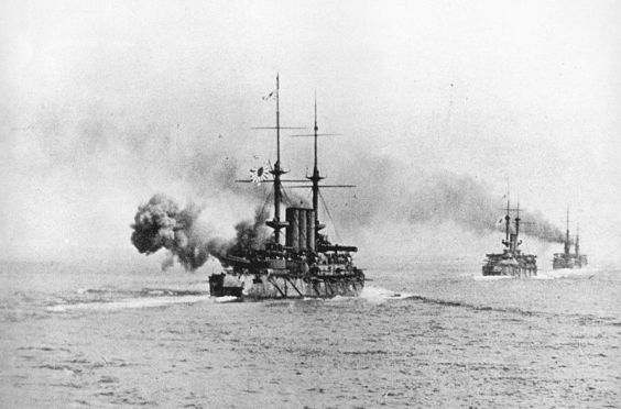 "Togo's battle line, ""Shikishima"" in the lead."