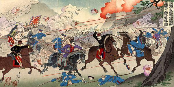 The Japanese repulse the Cossacks. Painting by Watanabe Nobukazu.