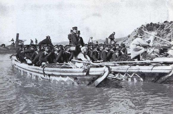 Japanese troops landing prior to Yalu battle.