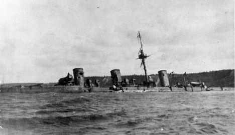 """""""Novik"""" scuttled at Korsakov Bay."""