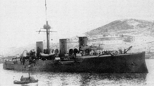 "The cruiser ""Novik"" at Port Arthur."