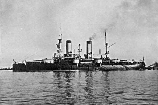 """Petropavlovsk"" at the Russian port of Kronstadt, 1899."