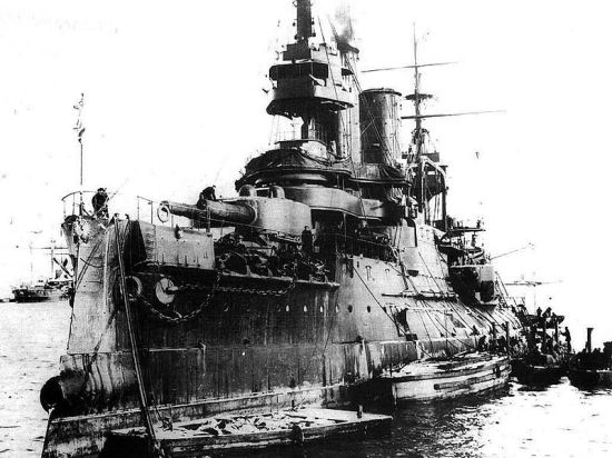 "The flagship ""Tsesarevich"" in Port Arthur."