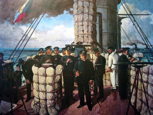 """Admiral Togo on the Mikasa."" Painting by  Tojo Shotaro."