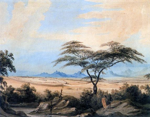 """""""Matabele Kraal"""" by William Cornwallis Harris."""