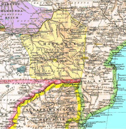 Matabeleland map, 1887. Mashonaland is included as the northeastern part of it.