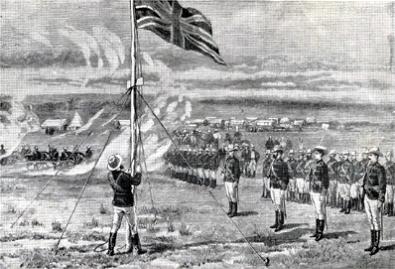 Lt. Edward Tyndale-Biscoe raises the Union Jack.