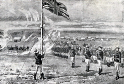 Lt. Edward Tyndale-Biscoe raises the Union Jack.
