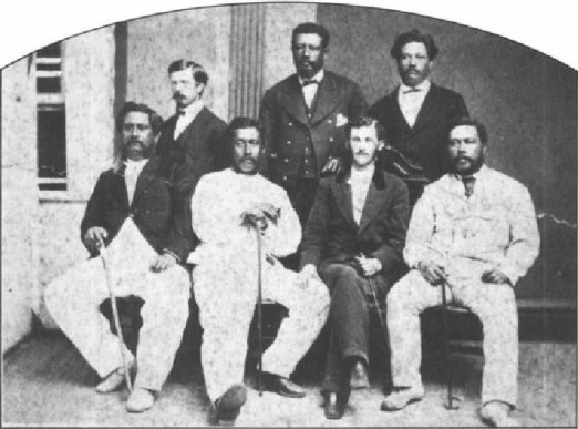 Lunalilo is seated second to left and Kalakaua at far right.