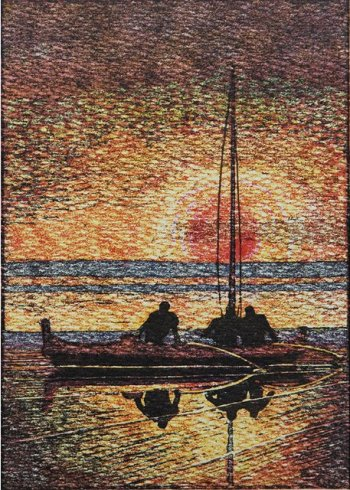 """Hawaiian Canoe."" Woodblock print by Arman Manookian."