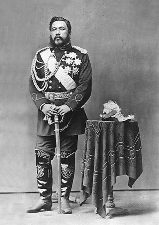 Kalakaua standing with sabre.