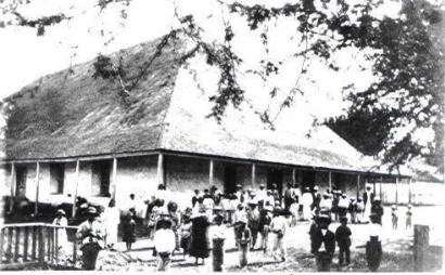 Kaumakapili Church as it existed 1838-1881. Both of the mass meetings described were held here.
