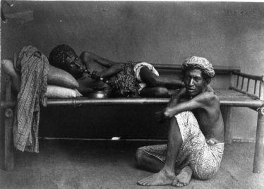 Opium smokers in Dutch East Indies, c. 1870.