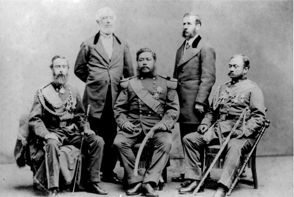 King Kalakaua and his party visiting the US. (L-R) Gov. John Dominis of Oahu, Luther Severance, Kalkaua, US Minister Henry Peirce, Gov. John Kapena of Maui.