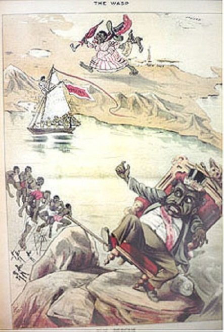Cartoon about the Bayonet Constitution. King Kalakaua in foreground, Queen Kapiolani in background. The racial imaging is pretty outrageous.