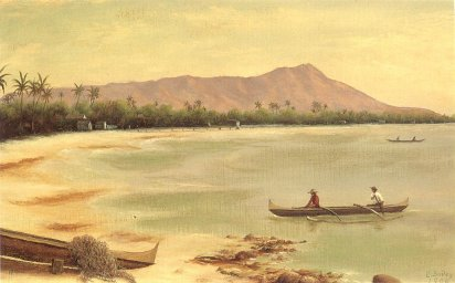 """Canoes at Diamond Head."" Painting by Edward Bailey, 1890,"