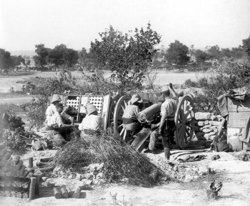 """French 75 mm gun, 3rd Battle of Krithia, Gallipoli. This conflict figures in """"The Secret Battle."""""""