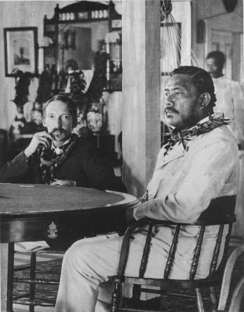Robert Louis Stevenson and Kalakaua at the royal boathouse, February 1889.