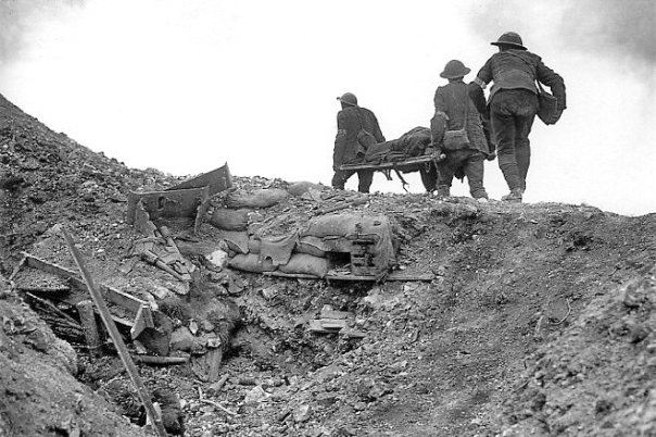 Stretcher bearers, Thiepval Ridge, Battle of the Somme