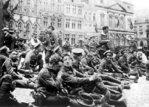 4th Bttn. Royal Fusiliers resting before Battle of Mons, August 1914. Chapman's 13th Bttn. did not arrive on the front until July 1915.
