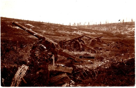 French long gun battery run over at Verdun.