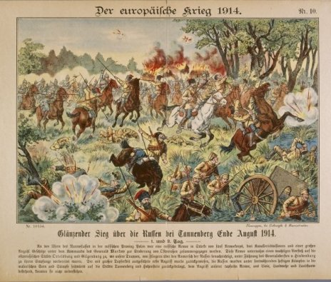 German print of Battle of Tannenberg, showing cavalry of Russian 2nd Army.