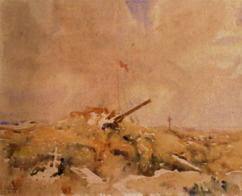 ...and here at Mouquet Farm, Pozieres (painting by Fred Leist, 1917)...