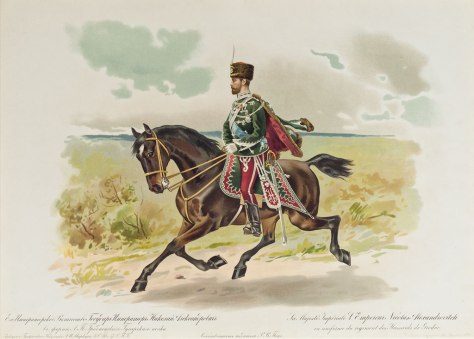 Tsar Nicholas in the uniform of the Grodnensky Guard Hussars.