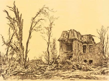 """A German headquarters,"" by Muirhead Bone."
