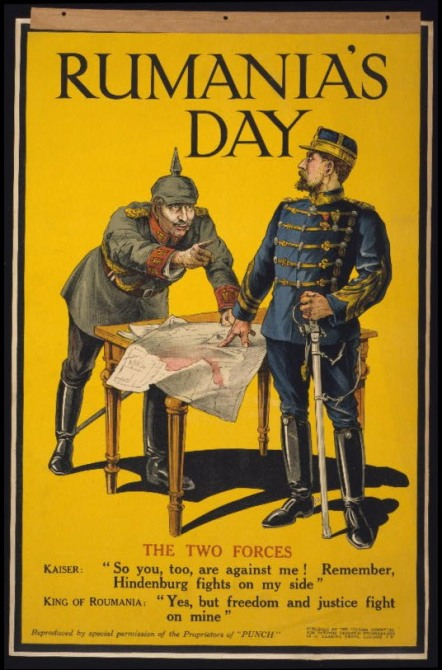 British poster welcoming Romania's decision to join the Entente
