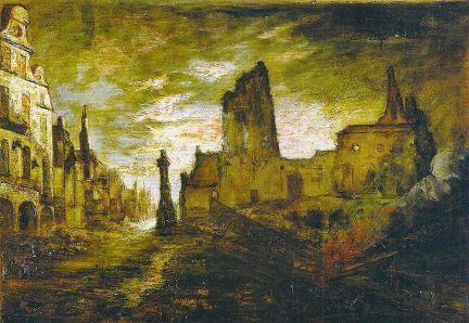 """Destruction of Arras, 1916,"" by George Washington Lambert."