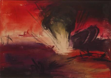 'English tank struck 1918,' by Fritz Fuhrken.