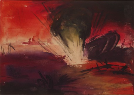 'English tank struck 1918,' by Fritz Fuhrken.