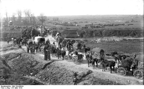 German supply column near Etricourt, Spring Offensive.