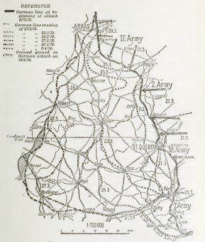 Map of Spring Offensive showing lines of advance at different dates.