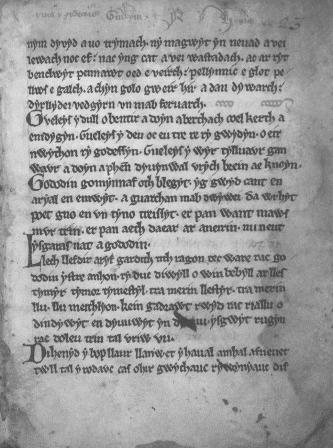 The Gododdin, one of the earliest Welsh texts to mention King Arthur.